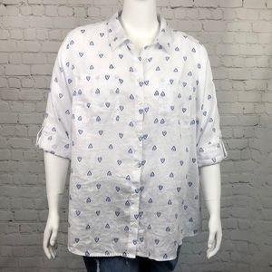 Charter Club White Linen Button Down Shirt Size 3X